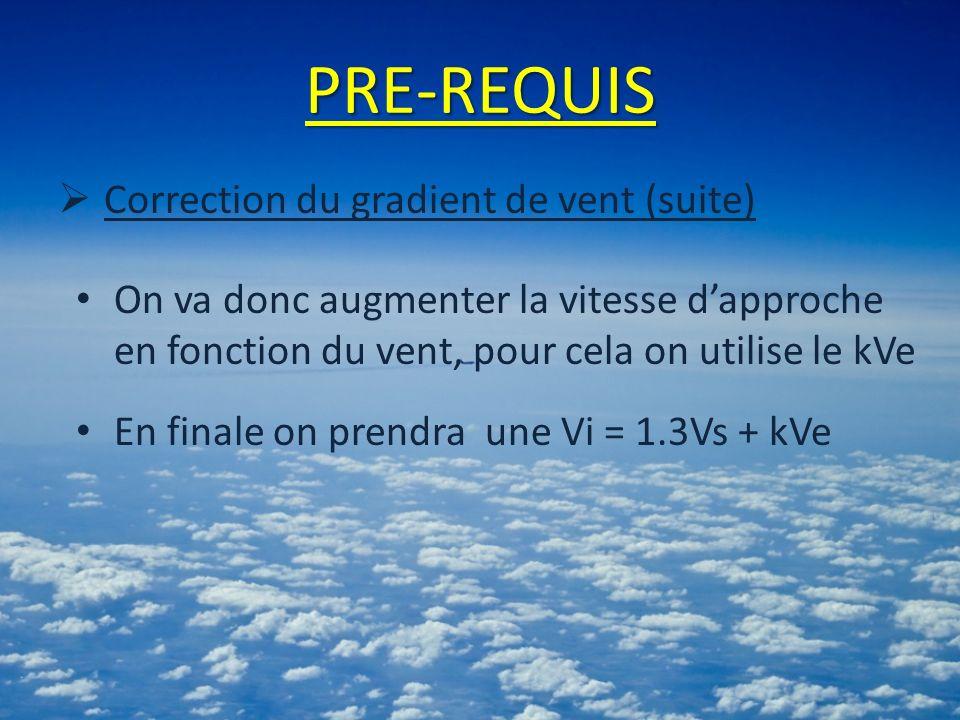 PRE-REQUIS Correction du gradient de vent (suite) On va donc augmenter la vitesse dapproche en fonction du vent, pour cela on utilise le kVe En finale on prendra une Vi = 1.3Vs + kVe