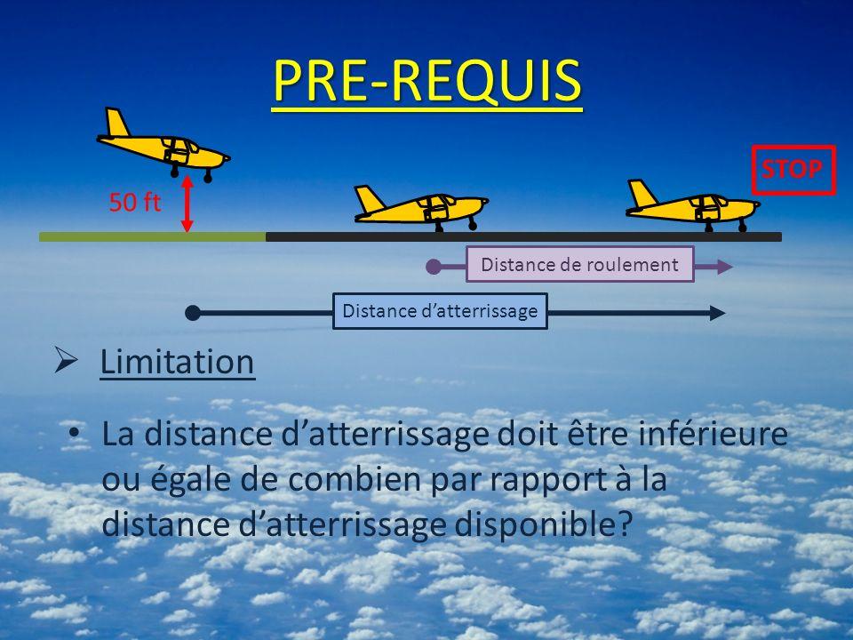 PRE-REQUIS Limitation La distance datterrissage doit être inférieure ou égale de combien par rapport à la distance datterrissage disponible? 50 ft Dis