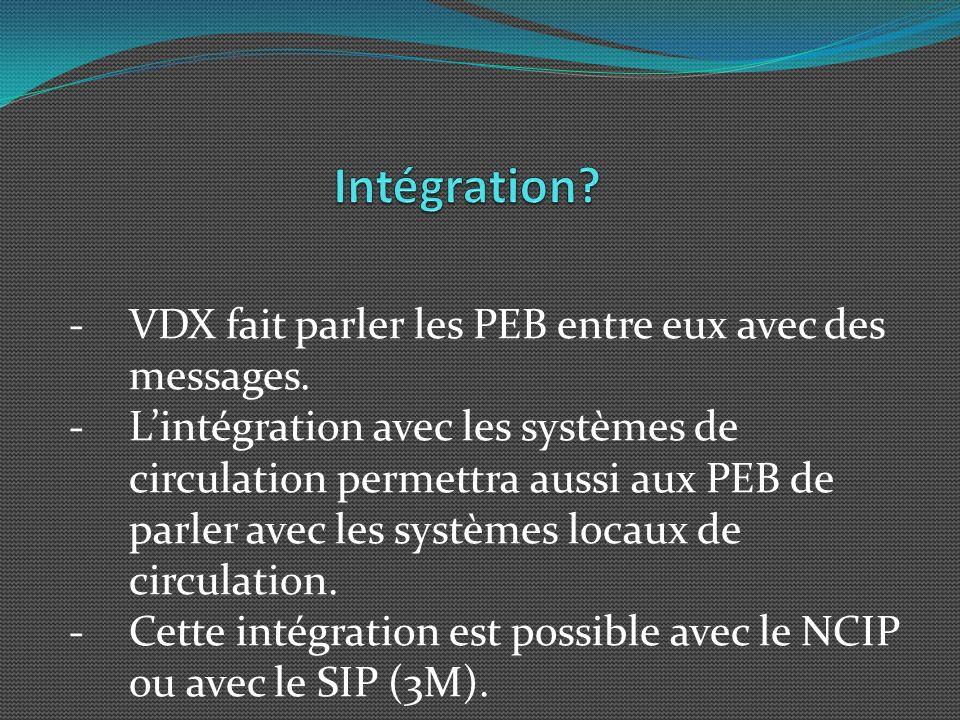 -VDX fait parler les PEB entre eux avec des messages.
