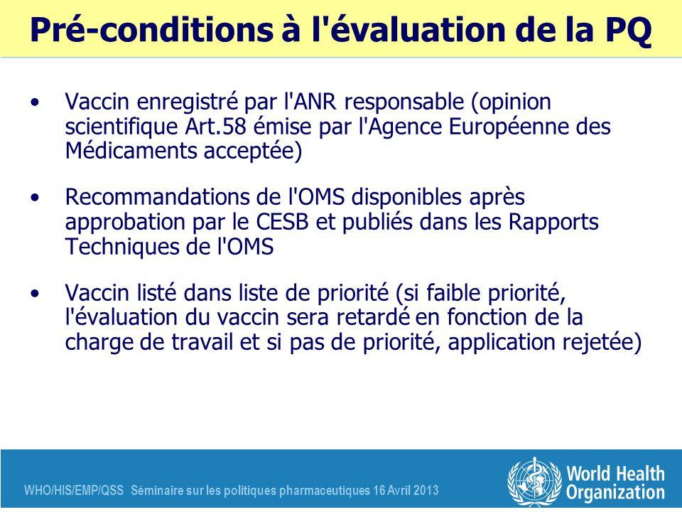 WHO/HIS/EMP/QSS Séminaire sur les politiques pharmaceutiques 16 Avril 2013 Pré-conditions à l'évaluation de la PQ Vaccin enregistré par l'ANR responsa