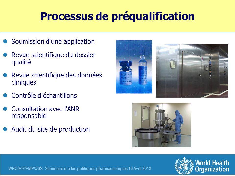 WHO/HIS/EMP/QSS Séminaire sur les politiques pharmaceutiques 16 Avril 2013 Processus de préqualification Soumission d'une application Revue scientifiq