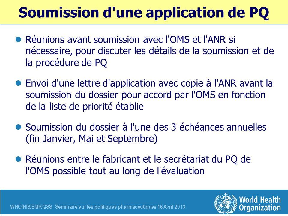 WHO/HIS/EMP/QSS Séminaire sur les politiques pharmaceutiques 16 Avril 2013 Soumission d'une application de PQ Réunions avant soumission avec l'OMS et