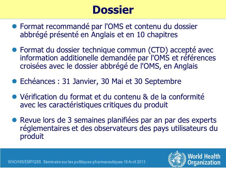 WHO/HIS/EMP/QSS Séminaire sur les politiques pharmaceutiques 16 Avril 2013 Dossier Format recommandé par l'OMS et contenu du dossier abbrégé présenté