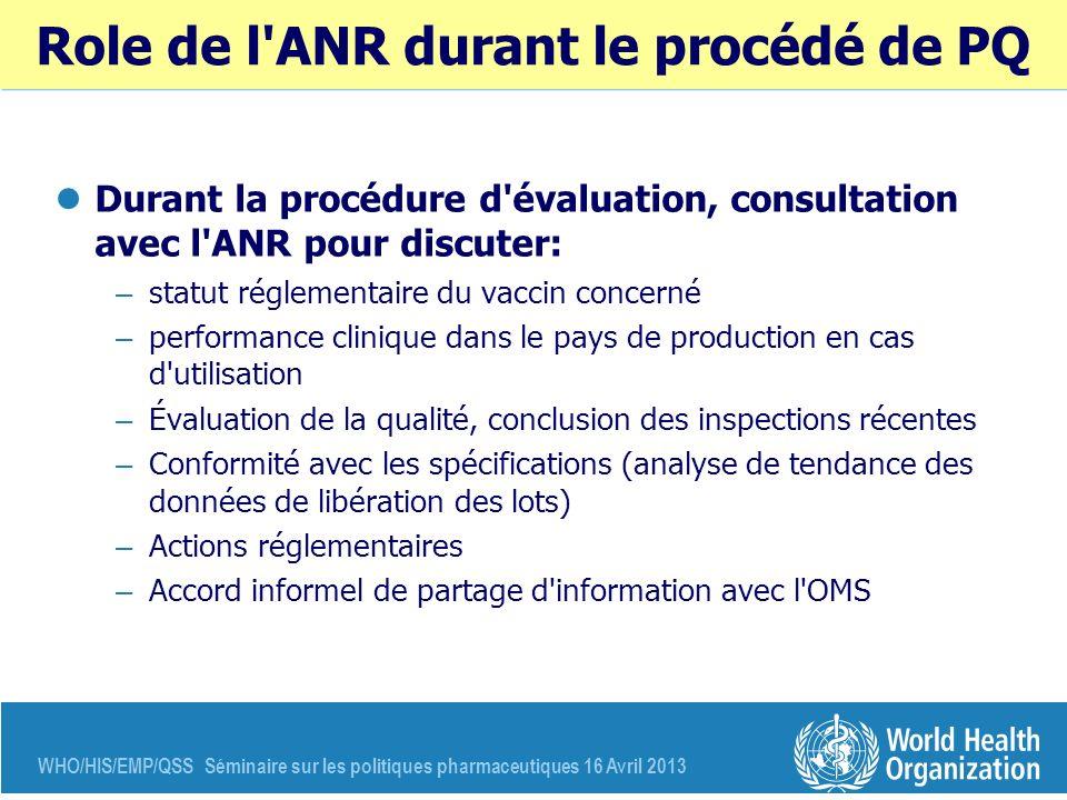 WHO/HIS/EMP/QSS Séminaire sur les politiques pharmaceutiques 16 Avril 2013 Role de l'ANR durant le procédé de PQ Durant la procédure d'évaluation, con