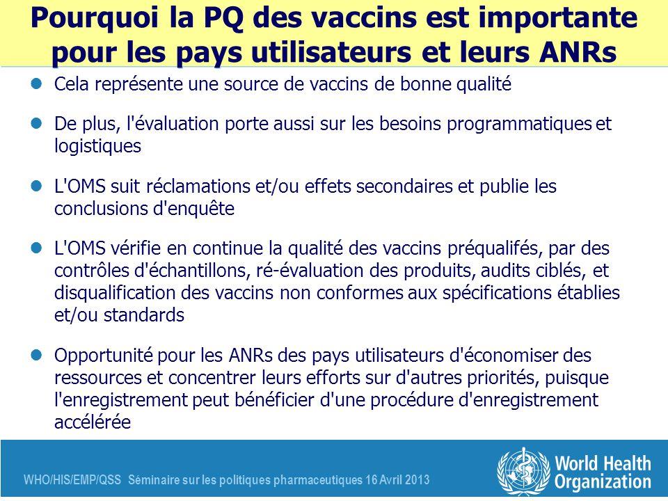 WHO/HIS/EMP/QSS Séminaire sur les politiques pharmaceutiques 16 Avril 2013 Pourquoi la PQ des vaccins est importante pour les pays utilisateurs et leu