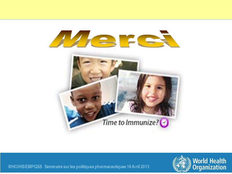 WHO/HIS/EMP/QSS Séminaire sur les politiques pharmaceutiques 16 Avril 2013