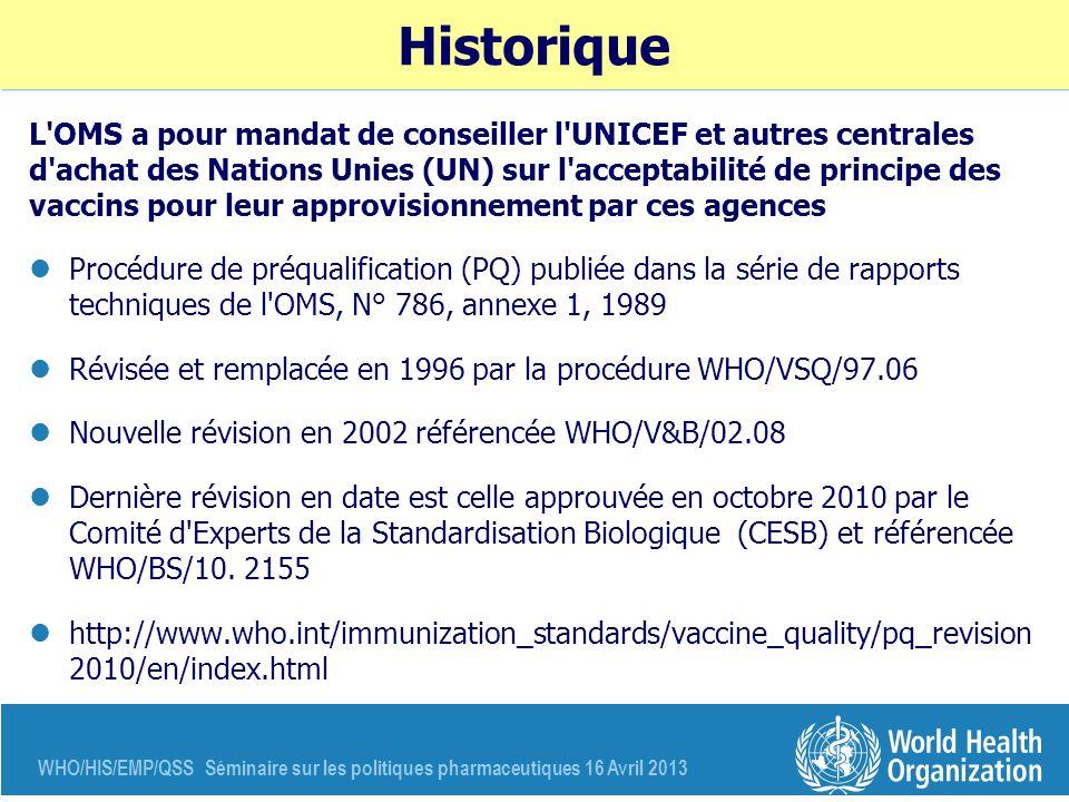 WHO/HIS/EMP/QSS Séminaire sur les politiques pharmaceutiques 16 Avril 2013 Historique L'OMS a pour mandat de conseiller l'UNICEF et autres centrales d