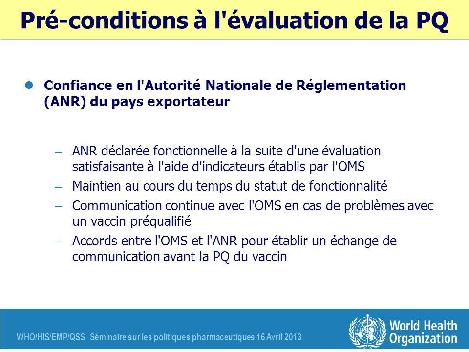 WHO/HIS/EMP/QSS Séminaire sur les politiques pharmaceutiques 16 Avril 2013 Pré-conditions à l'évaluation de la PQ Confiance en l'Autorité Nationale de