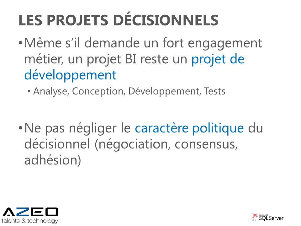 LES PROJETS DÉCISIONNELS Même sil demande un fort engagement métier, un projet BI reste un projet de développement Analyse, Conception, Développement,