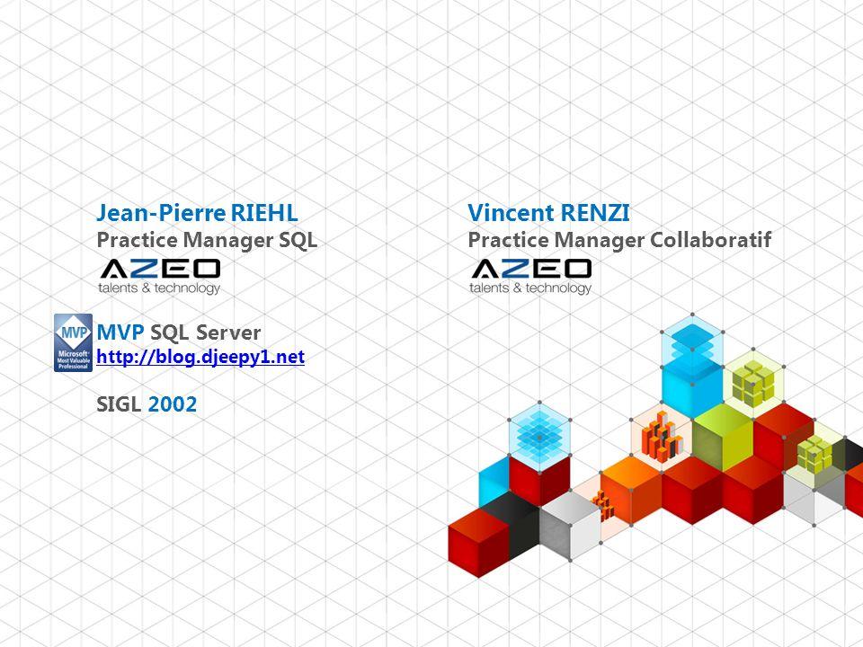 Jean-Pierre RIEHL Practice Manager SQL MVP SQL Server http://blog.djeepy1.net SIGL 2002 http://blog.djeepy1.net 2 Vincent RENZI Practice Manager Colla