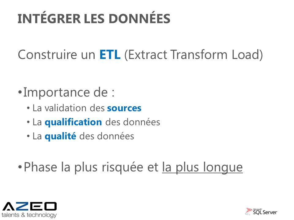 INTÉGRER LES DONNÉES Construire un ETL (Extract Transform Load) Importance de : La validation des sources La qualification des données La qualité des
