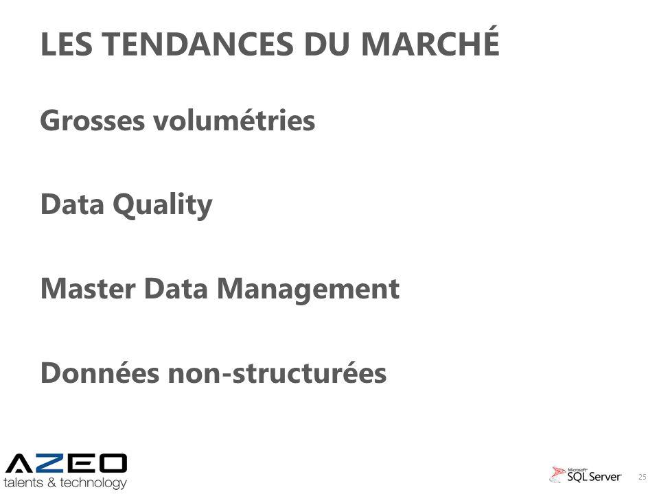 LES TENDANCES DU MARCHÉ Grosses volumétries Data Quality Master Data Management Données non-structurées 25