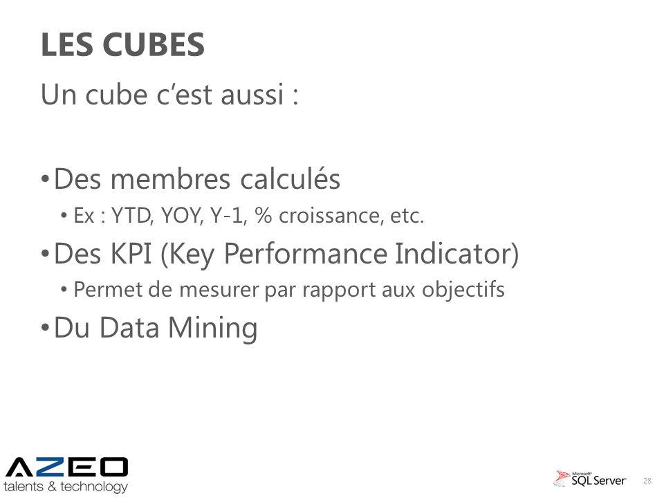 LES CUBES Un cube cest aussi : Des membres calculés Ex : YTD, YOY, Y-1, % croissance, etc. Des KPI (Key Performance Indicator) Permet de mesurer par r