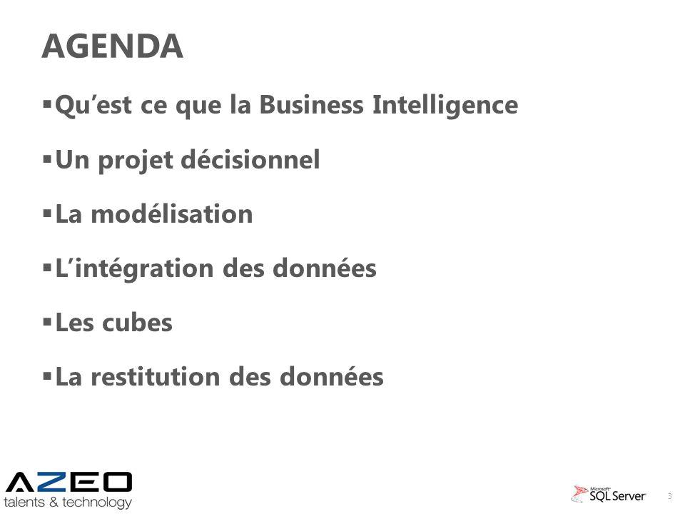 AGENDA Quest ce que la Business Intelligence Un projet décisionnel La modélisation Lintégration des données Les cubes La restitution des données 3