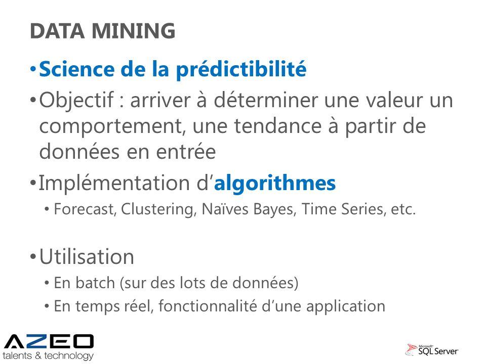DATA MINING Science de la prédictibilité Objectif : arriver à déterminer une valeur un comportement, une tendance à partir de données en entrée Implém