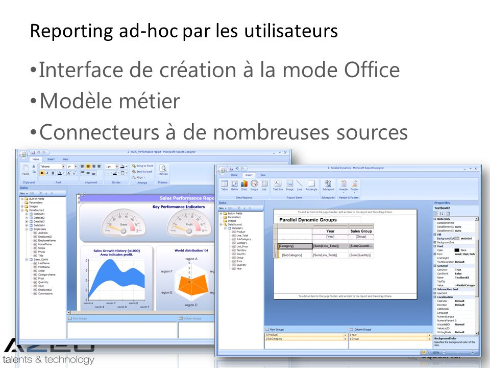 Reporting ad-hoc par les utilisateurs Interface de création à la mode Office Modèle métier Connecteurs à de nombreuses sources inclus