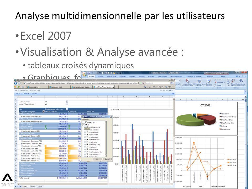 Analyse multidimensionnelle par les utilisateurs Excel 2007 Visualisation & Analyse avancée : tableaux croisés dynamiques Graphiques, fonctionnalités