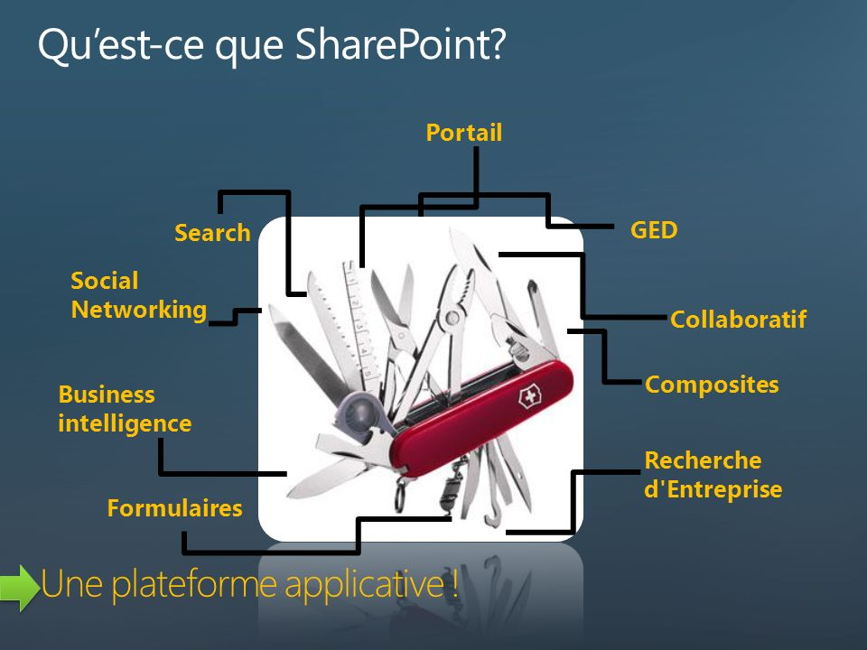 Search Social Networking Business intelligence GED Collaboratif Composites Recherche d Entreprise Formulaires Portail Une plateforme applicative !