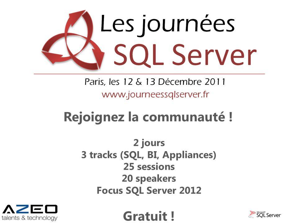 Rejoignez la communauté ! 2 jours 3 tracks (SQL, BI, Appliances) 25 sessions 20 speakers Focus SQL Server 2012 Gratuit !