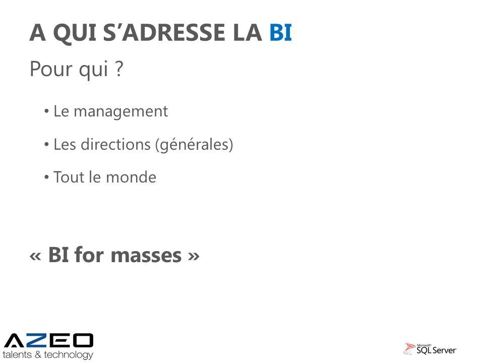 A QUI SADRESSE LA BI Pour qui ? Le management Les directions (générales) Tout le monde « BI for masses »