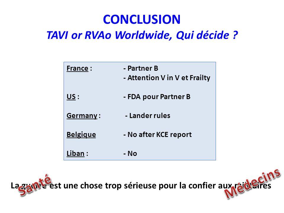 CONCLUSION TAVI or RVAo Worldwide, Qui décide .