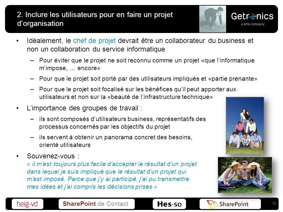 SharePoint de Contact 2. Inclure les utilisateurs pour en faire un projet dorganisation Idéalement, le chef de projet devrait être un collaborateur du