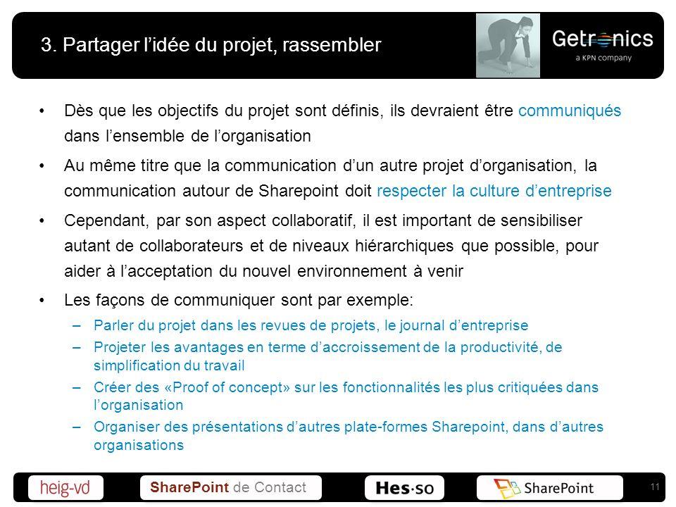 SharePoint de Contact 3. Partager lidée du projet, rassembler Dès que les objectifs du projet sont définis, ils devraient être communiqués dans lensem
