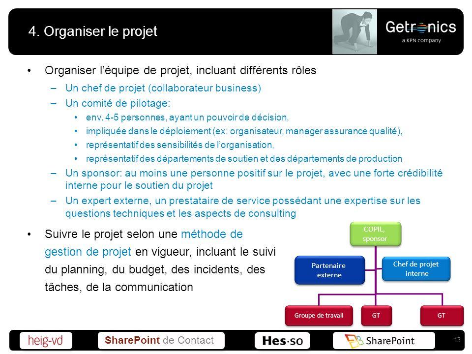 SharePoint de Contact 4. Organiser le projet Organiser léquipe de projet, incluant différents rôles –Un chef de projet (collaborateur business) –Un co