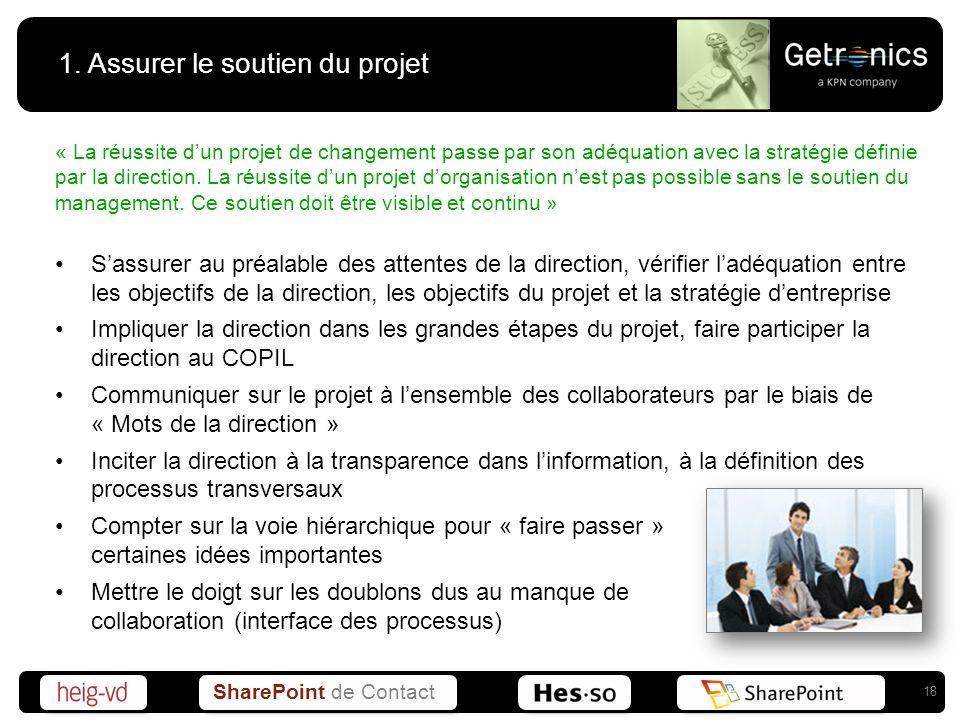 SharePoint de Contact 1. Assurer le soutien du projet « La réussite dun projet de changement passe par son adéquation avec la stratégie définie par la