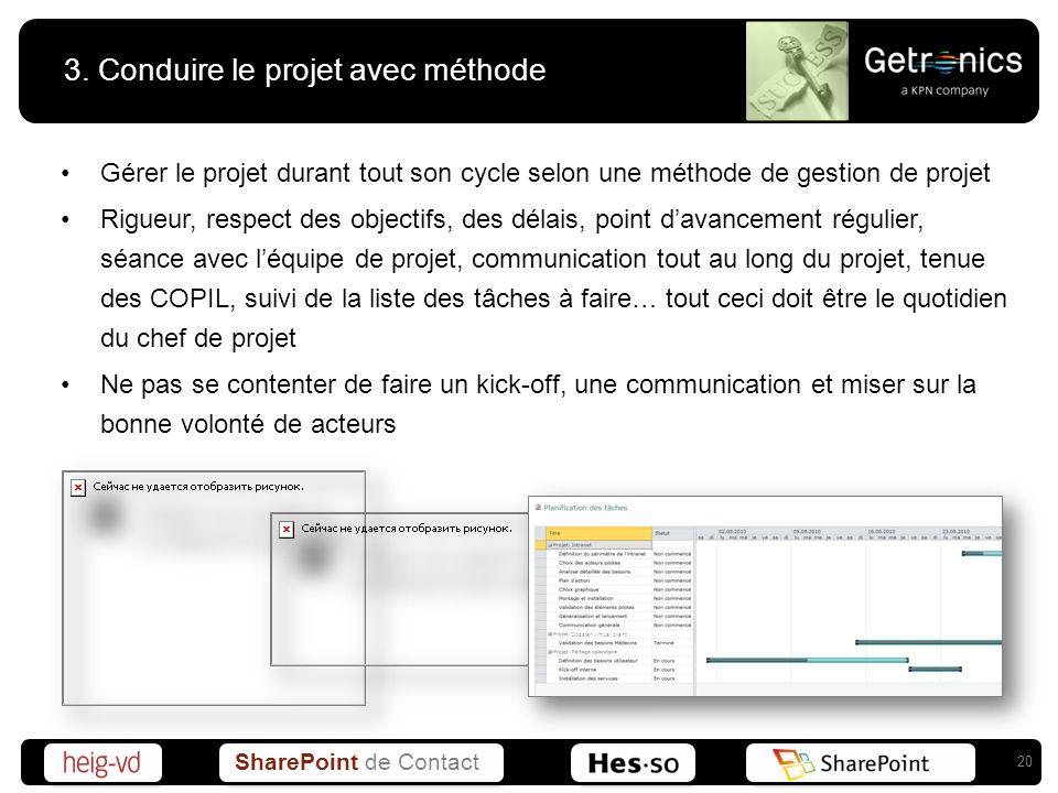 SharePoint de Contact 3. Conduire le projet avec méthode Gérer le projet durant tout son cycle selon une méthode de gestion de projet Rigueur, respect