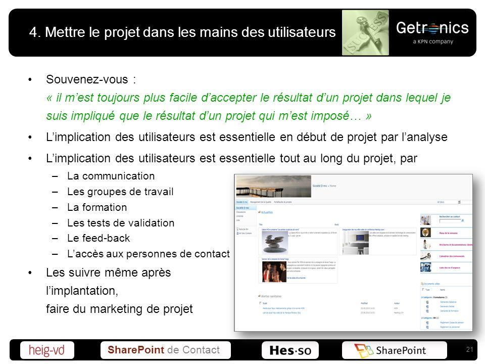 SharePoint de Contact 4. Mettre le projet dans les mains des utilisateurs Souvenez-vous : « il mest toujours plus facile daccepter le résultat dun pro