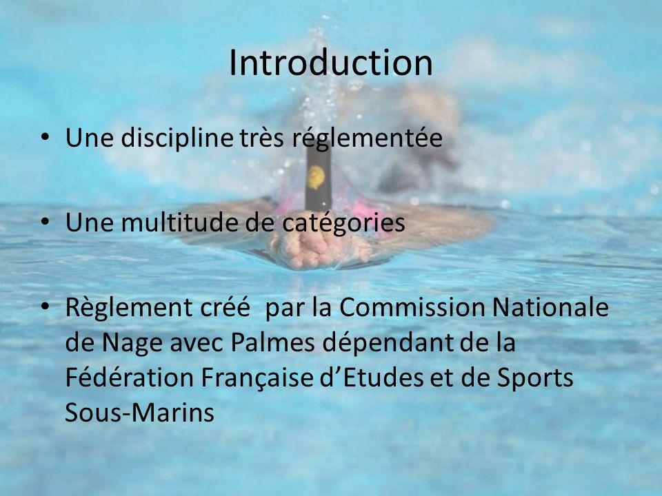 Introduction Une discipline très réglementée Une multitude de catégories Règlement créé par la Commission Nationale de Nage avec Palmes dépendant de l