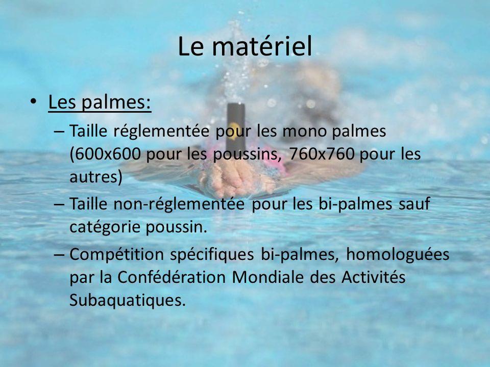 Le matériel Les palmes: – Taille réglementée pour les mono palmes (600x600 pour les poussins, 760x760 pour les autres) – Taille non-réglementée pour l