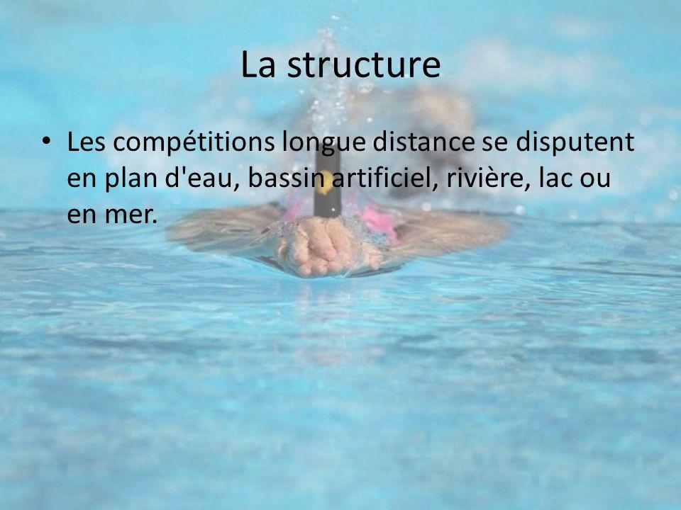 La structure Les compétitions longue distance se disputent en plan d'eau, bassin artificiel, rivière, lac ou en mer.