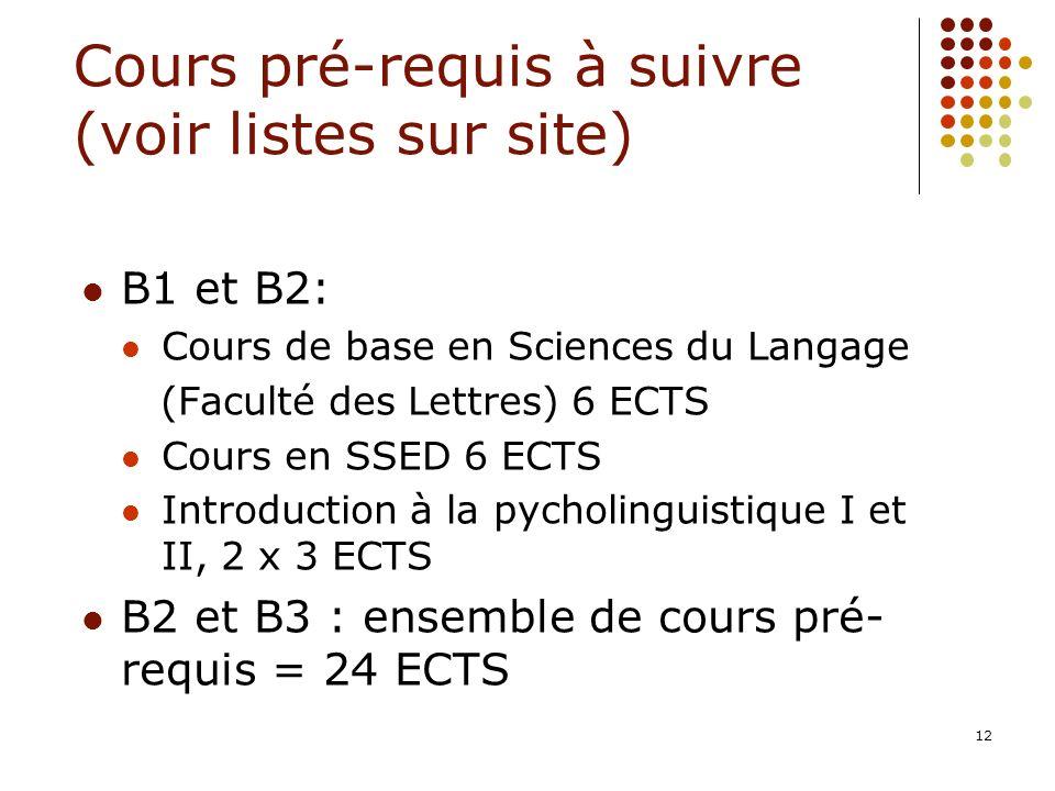 12 Cours pré-requis à suivre (voir listes sur site) B1 et B2: Cours de base en Sciences du Langage (Faculté des Lettres) 6 ECTS Cours en SSED 6 ECTS I