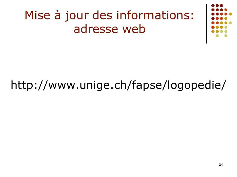 24 Mise à jour des informations: adresse web http://www.unige.ch/fapse/logopedie/