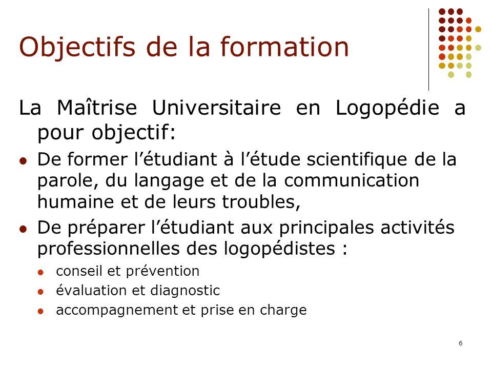 6 La Maîtrise Universitaire en Logopédie a pour objectif: De former létudiant à létude scientifique de la parole, du langage et de la communication hu