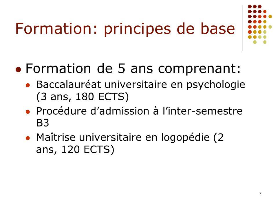 7 Formation: principes de base Formation de 5 ans comprenant: Baccalauréat universitaire en psychologie (3 ans, 180 ECTS) Procédure dadmission à linte