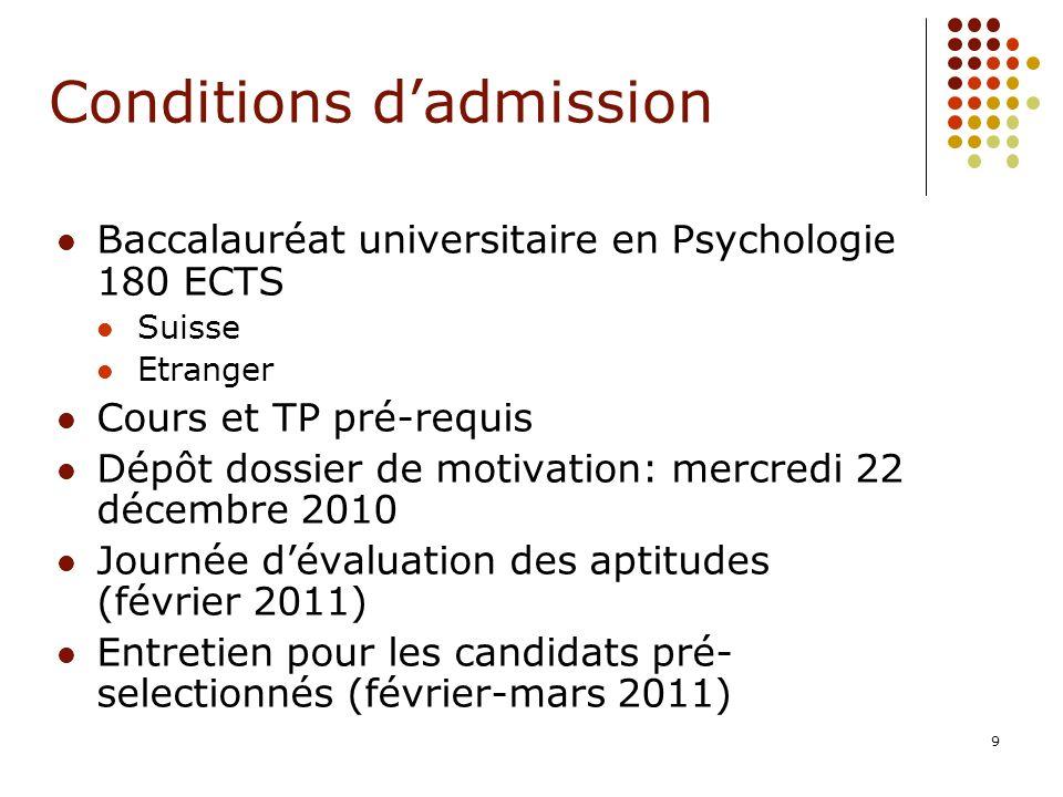 9 Conditions dadmission Baccalauréat universitaire en Psychologie 180 ECTS Suisse Etranger Cours et TP pré-requis Dépôt dossier de motivation: mercred
