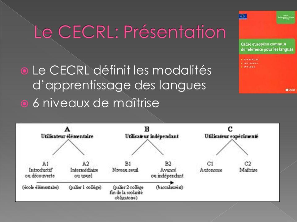 Le CECRL définit les modalités dapprentissage des langues 6 niveaux de maîtrise