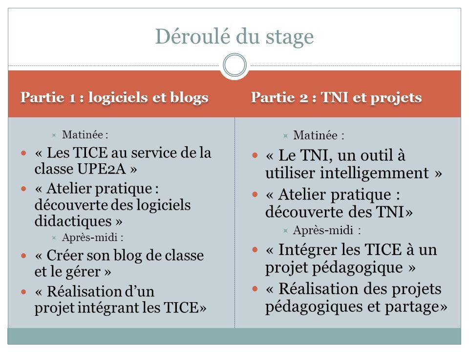Partie 1 : logiciels et blogs Partie 2 : TNI et projets Matinée : « Les TICE au service de la classe UPE2A » « Atelier pratique : découverte des logic