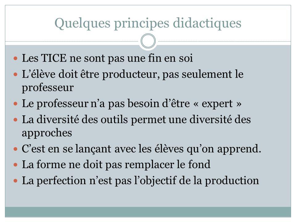 Quelques principes didactiques Les TICE ne sont pas une fin en soi Lélève doit être producteur, pas seulement le professeur Le professeur na pas besoi