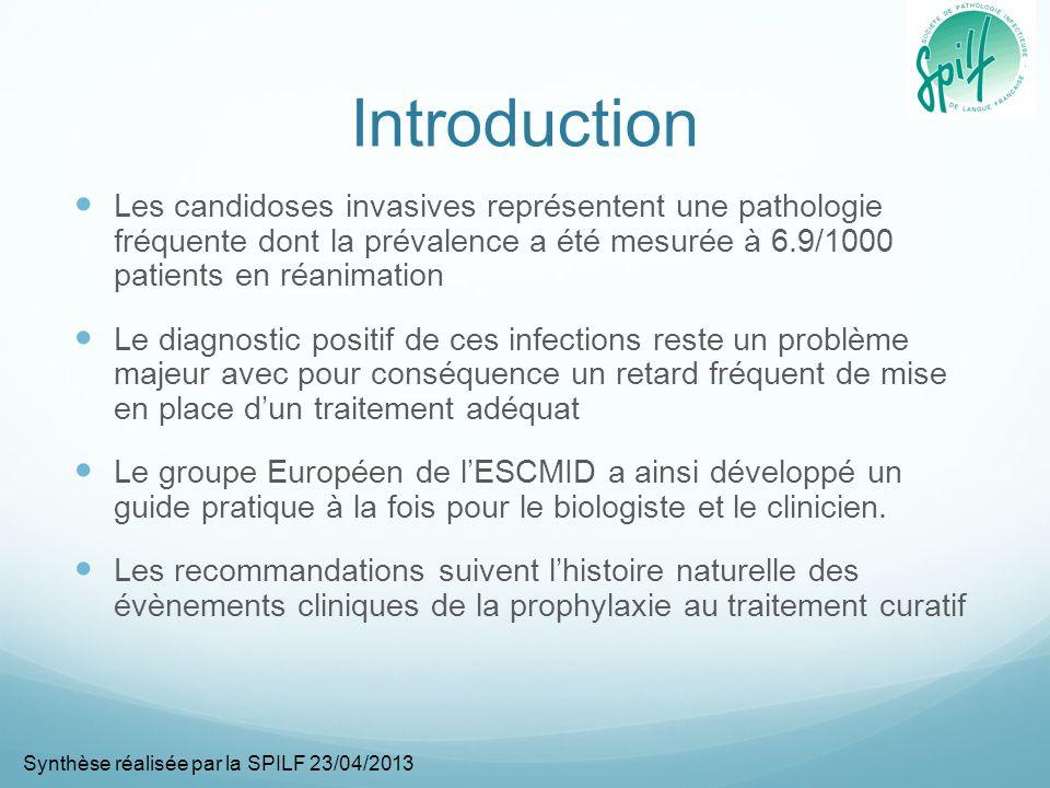 Méningite Pathologie rare de mauvais pronostic Il nexiste aucune donnée solide permettant de délivrer un haut niveau de recommandation Le traitement doit reposer sur lamphotericine B associée à la flucytosine (BIII) Si la souche est sensible, le fluconazole peut être utilisé (CIII) Synthèse réalisée par la SPILF 23/04/2013