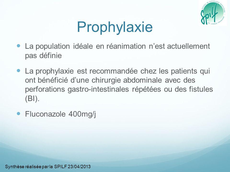 Infection ostéo-articulaire Il nexiste aucun travail randomisé En cas dostéomyélite, de spondylodiscite, darthrite, le traitement par fluconazole est fortement recommandé pendant 6-12 mois (AII) Une phase initiale avec de lamphotéricine lipidique peut être proposée pendant 2-6 semaines (AII) En cas dinfection de prothèse, si celle ci ne peut être enlevée, un traitement suppressif à vie par fluconazole peut être proposé (AIII) Synthèse réalisée par la SPILF 23/04/2013