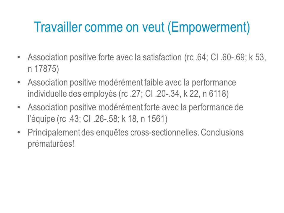 Travailler comme on veut (Empowerment) Association positive forte avec la satisfaction (rc.64; CI.60-.69; k 53, n 17875) Association positive modéréme