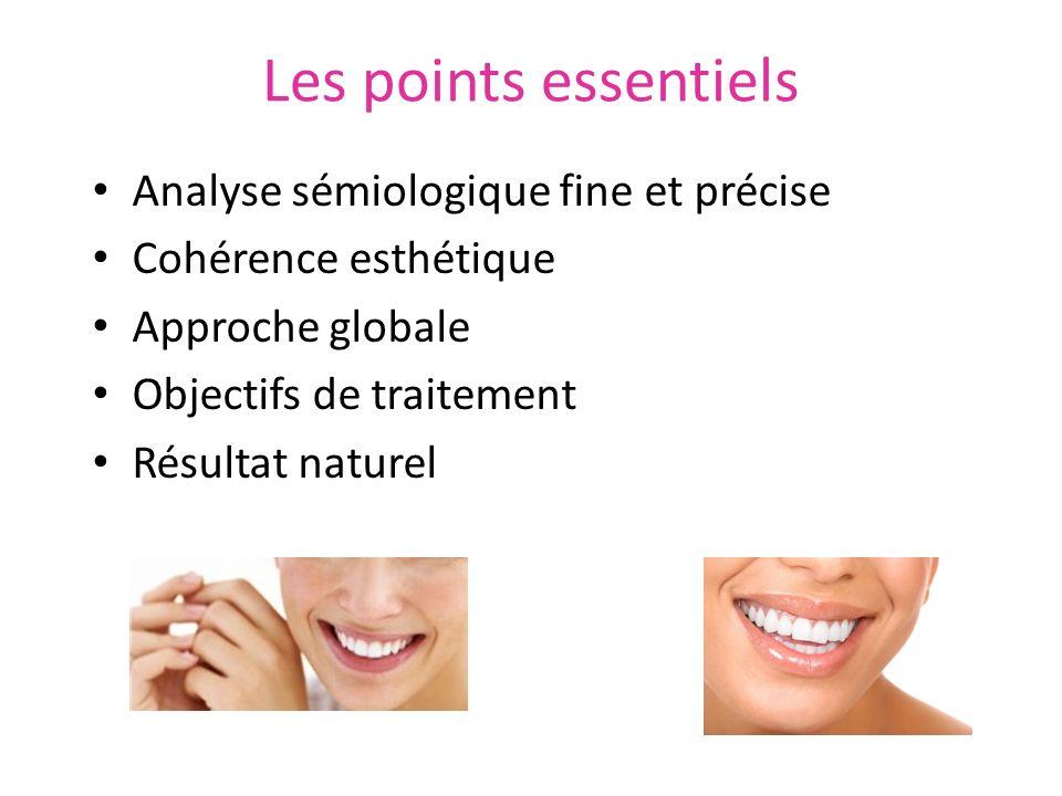 Les points essentiels Analyse sémiologique fine et précise Cohérence esthétique Approche globale Objectifs de traitement Résultat naturel