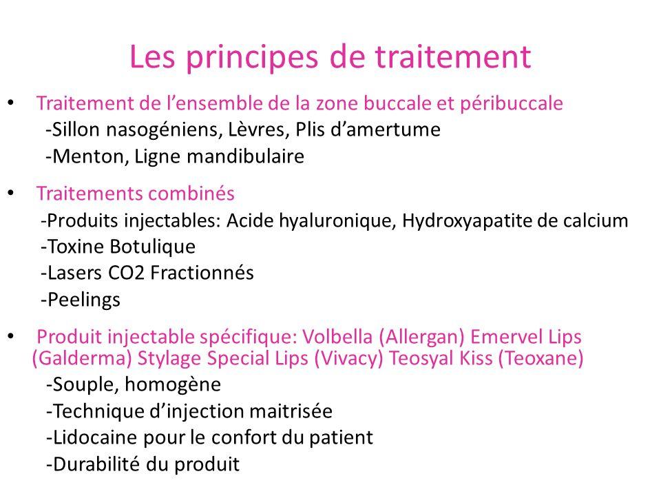 Les principes de traitement Traitement de lensemble de la zone buccale et péribuccale -Sillon nasogéniens, Lèvres, Plis damertume -Menton, Ligne mandi