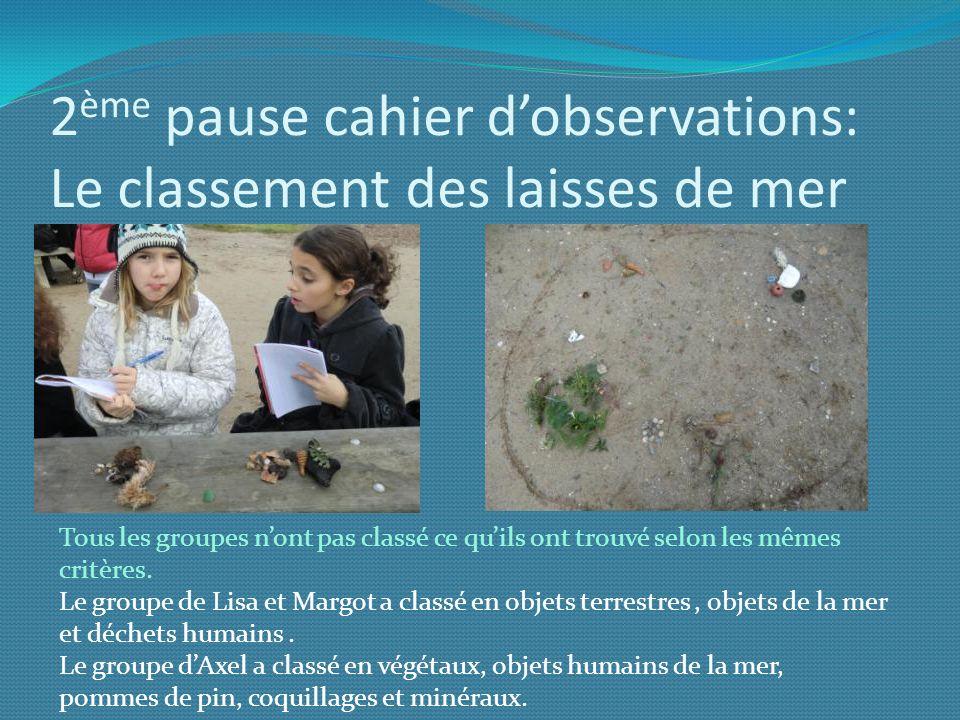 2 ème pause cahier dobservations: Le classement des laisses de mer Tous les groupes nont pas classé ce quils ont trouvé selon les mêmes critères. Le g