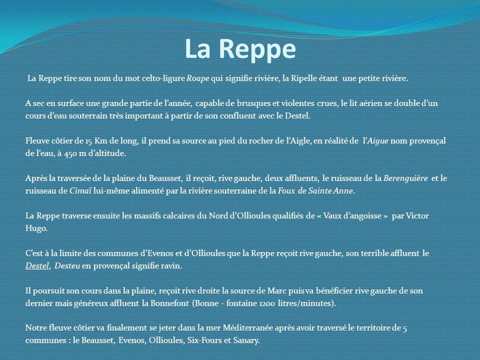 La Reppe La Reppe tire son nom du mot celto-ligure Roape qui signifie rivière, la Ripelle étant une petite rivière. A sec en surface une grande partie