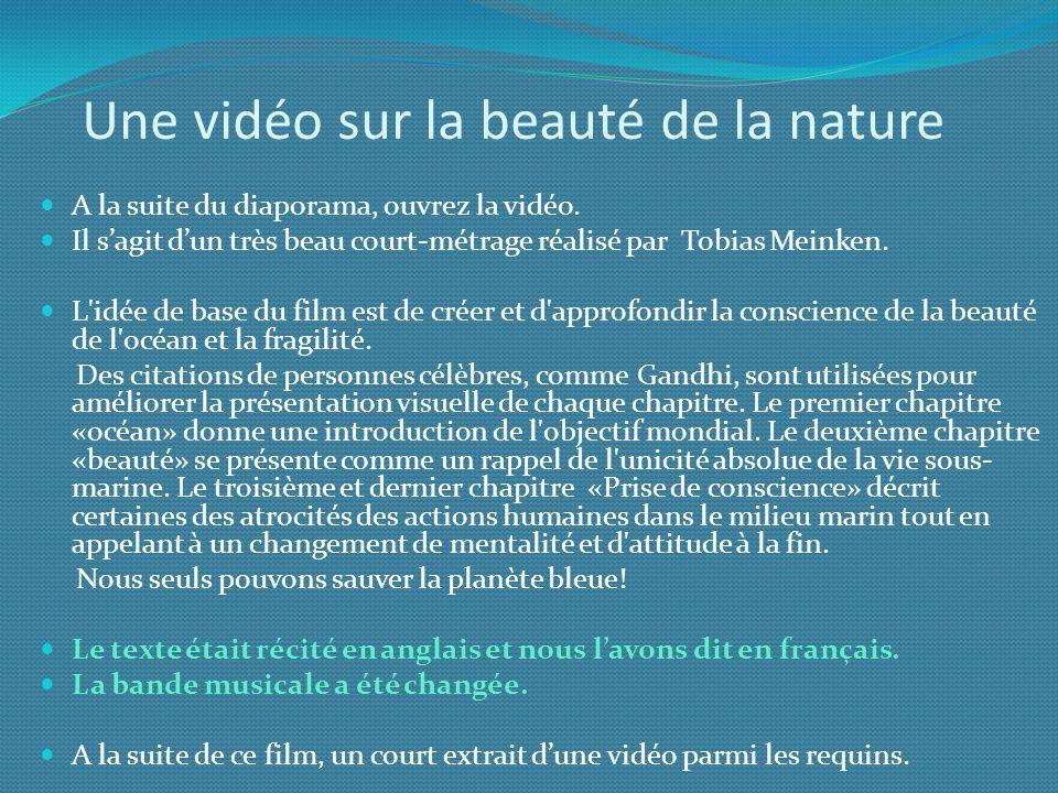 Une vidéo sur la beauté de la nature A la suite du diaporama, ouvrez la vidéo. Il sagit dun très beau court-métrage réalisé par Tobias Meinken. L'idée